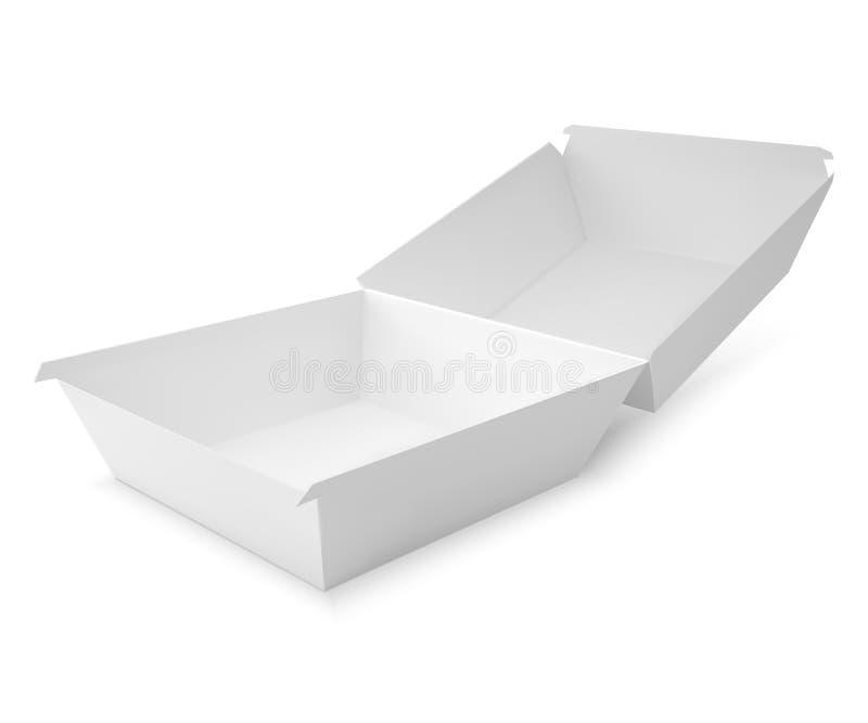 Άσπρο κιβώτιο τροφίμων, που συσκευάζει για το χάμπουργκερ, μεσημεριανό γεύμα διανυσματική απεικόνιση