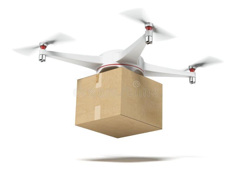 Άσπρο κιβώτιο χαρτοκιβωτίων quadrocopter φέρνοντας απεικόνιση αποθεμάτων