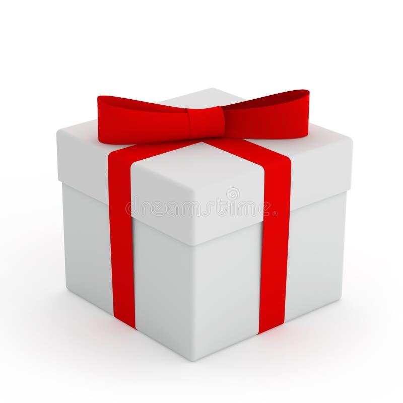 Άσπρο κιβώτιο δώρων με την κόκκινη κορδέλλα και τόξο στο άσπρο υπόβαθρο απεικόνιση αποθεμάτων