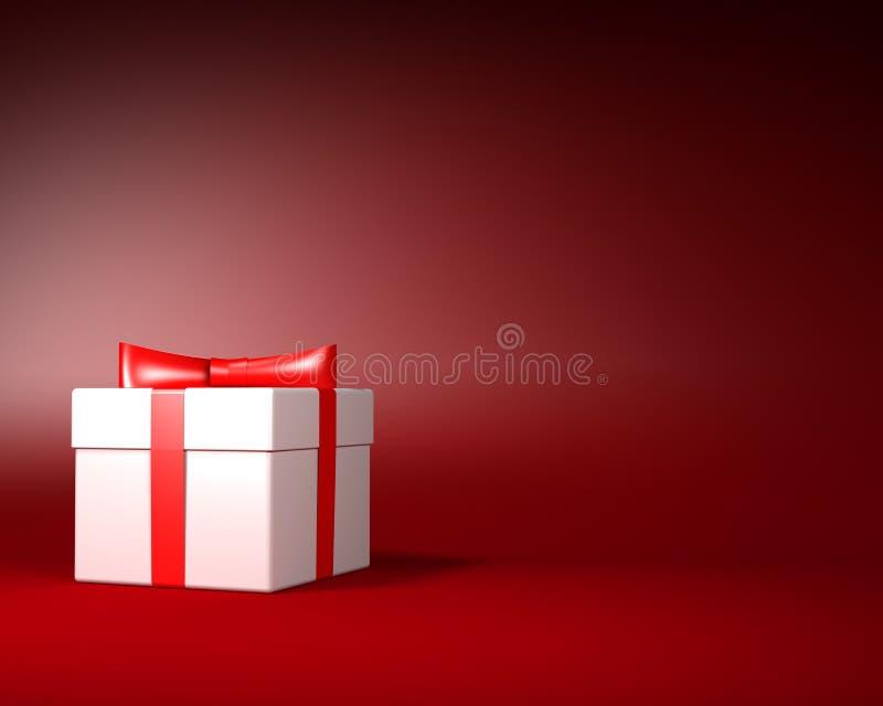 Άσπρο κιβώτιο δώρων με την κόκκινη κορδέλλα και τόξο στο κόκκινο υπόβαθρο ελεύθερη απεικόνιση δικαιώματος