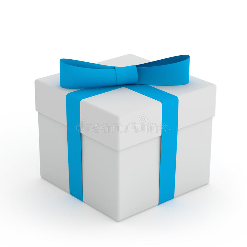 Άσπρο κιβώτιο δώρων με την μπλε κορδέλλα και τόξο στο άσπρο υπόβαθρο απεικόνιση αποθεμάτων