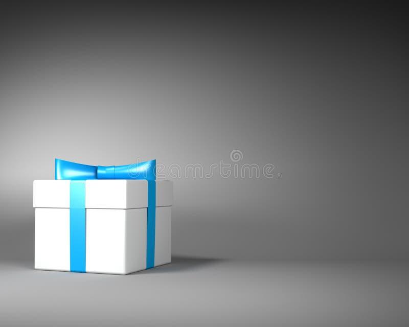 Άσπρο κιβώτιο δώρων με την μπλε κορδέλλα και τόξο στο γκρίζο υπόβαθρο ελεύθερη απεικόνιση δικαιώματος