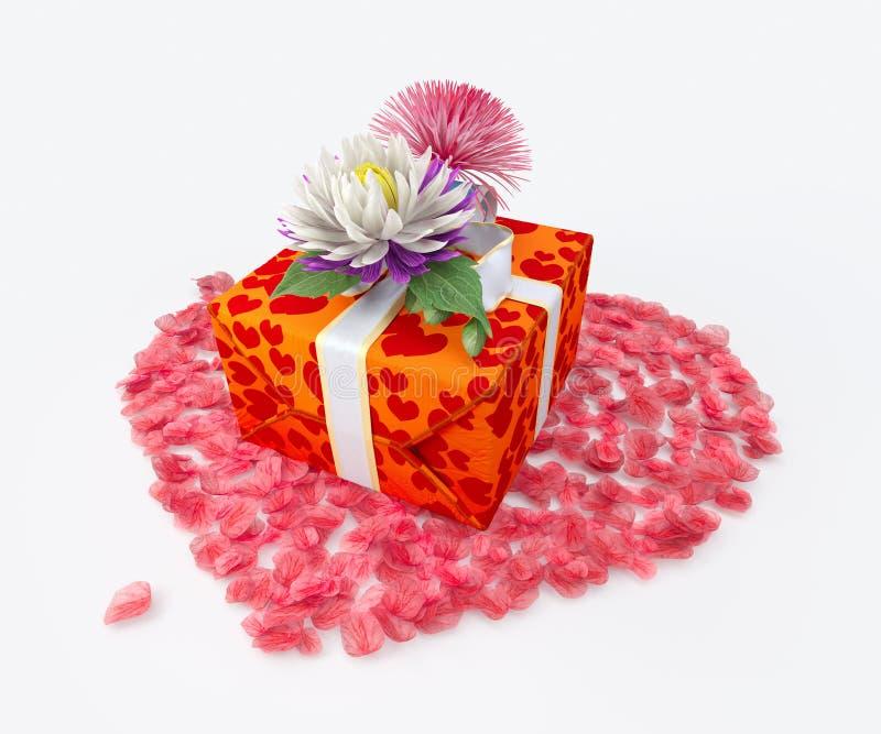 Άσπρο κιβώτιο δώρων με το τόξο κορδελλών και τα λουλούδια και τη μορφή καρδιών στοκ φωτογραφίες