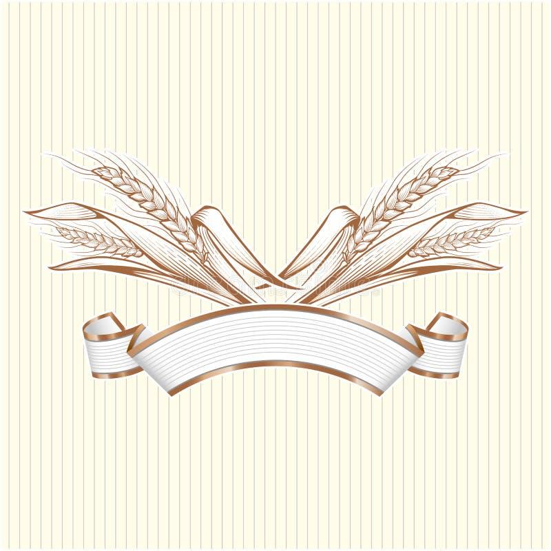 Άσπρο κομψό έμβλημα με το χρυσό wheatears Διανυσματικό διακοσμητικό elem απεικόνιση αποθεμάτων