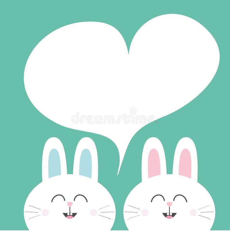 Άσπρο κουνέλι λαγουδάκι με τα μακριά αυτιά Πρότυπο πλαισίων καρδιών Χαριτωμένα δίδυμα χαρακτήρα χαμόγελου κινούμενων σχεδίων διάν ελεύθερη απεικόνιση δικαιώματος