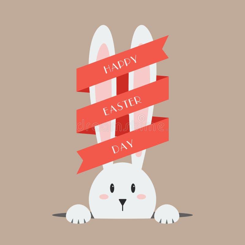 Άσπρο κουνέλι Πάσχας με την κόκκινη κορδέλλα διανυσματική απεικόνιση