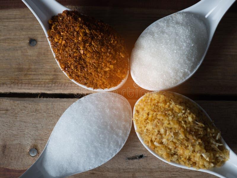 Άσπρο κουτάλι που ολοκληρώνεται με τη σκόνη, τα σάκχαρα, το άλας και το σκόρδο τσίλι στοκ εικόνες