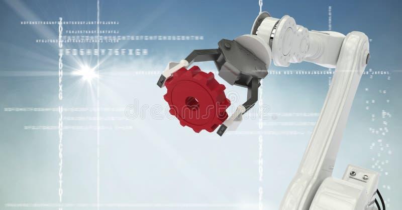 Άσπρο κόκκινο βαραίνω νυχιών ρομπότ στην άσπρη διεπαφή, το σύννεφο, τη φλόγα και το μπλε κλίμα απεικόνιση αποθεμάτων