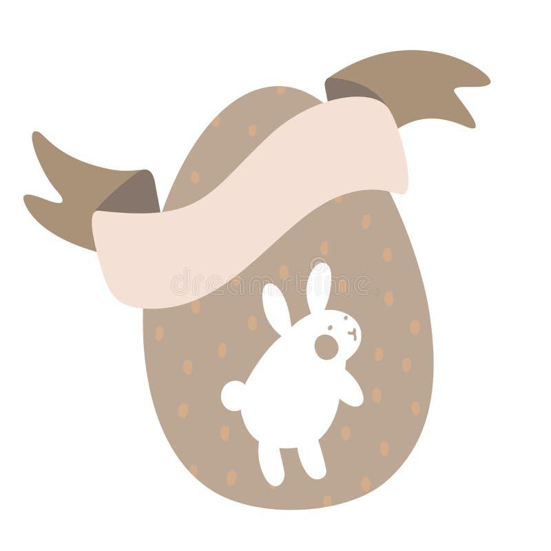 Άσπρο λαγουδάκι κινούμενων σχεδίων και χαριτωμένα αυγά νεοσσών με τις κορδέλλες σχεδίων και σοκολάτας Πάσχα ή διανυσματική απεικό απεικόνιση αποθεμάτων