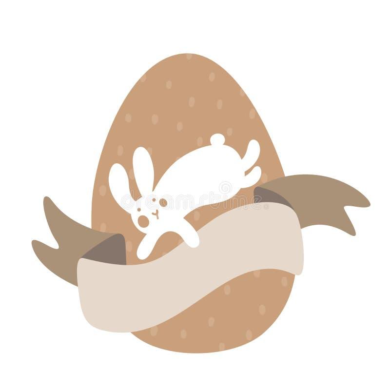 Άσπρο λαγουδάκι κινούμενων σχεδίων και χαριτωμένα αυγά νεοσσών με το σχέδιο και τη γλυκιά καφετιά κορδέλλα Πάσχα ή διανυσματική α διανυσματική απεικόνιση