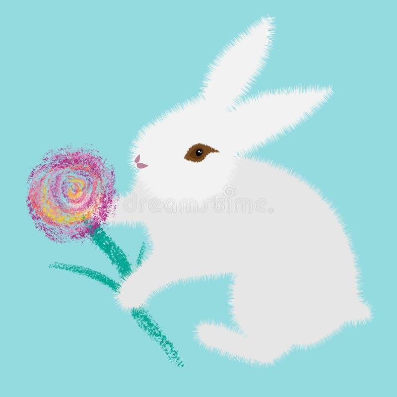Άσπρο λαγουδάκι κινούμενων σχεδίων με το λουλούδι για το σχέδιο υφάσματος Χαριτωμένη διανυσματική απεικόνιση r r ελεύθερη απεικόνιση δικαιώματος