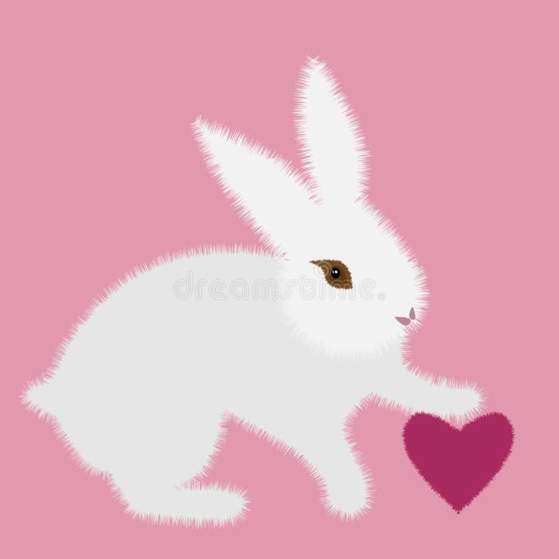 Άσπρο λαγουδάκι χαρακτήρα κινουμένων σχεδίων με την καρδιά στο ρόδινο υπόβαθρο για το σχέδιο έννοιας Διανυσματική έννοια r Λαγουδ ελεύθερη απεικόνιση δικαιώματος
