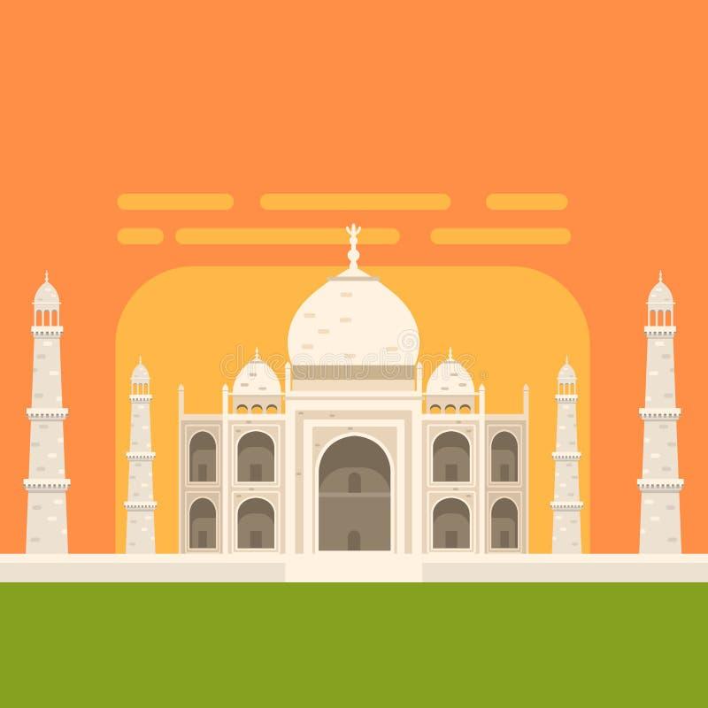 Άσπρο μνημείο ενταφιασμών Mahal Taj, διάσημο παραδοσιακό τουριστικό σύμβολο του ινδικών πολιτισμού και της αρχιτεκτονικής απεικόνιση αποθεμάτων
