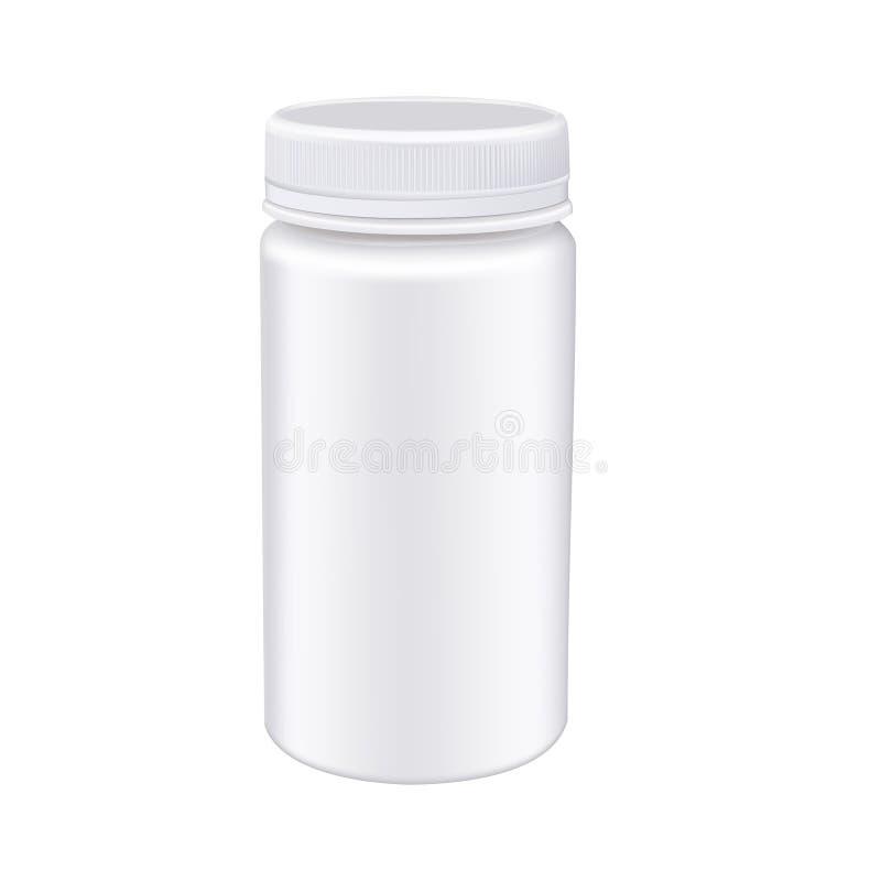 Άσπρο μπουκάλι χαπιών ιατρικής που απομονώνεται στο άσπρο υπόβαθρο ζωηρόχρωμα φρέσκα photorealistic διανυσματικά λαχανικά ομάδας απεικόνιση αποθεμάτων
