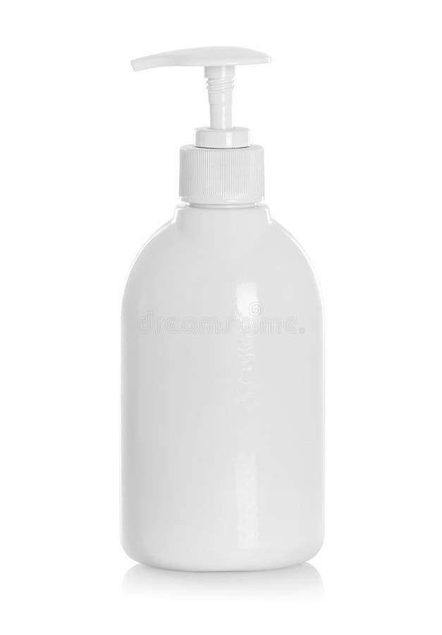 Άσπρο μπουκάλι σωλήνων του σαμπουάν, εδαφοβελτιωτικό, ξέβγαλμα τρίχας στοκ εικόνες