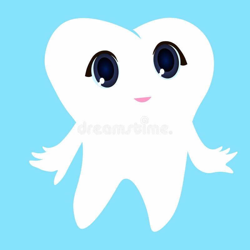 Άσπρο μπλε υπόβαθρο δοντιών, πρώτο δόντι απεικόνισης εικονιδίων δοντιών διανυσματικό διανυσματική απεικόνιση