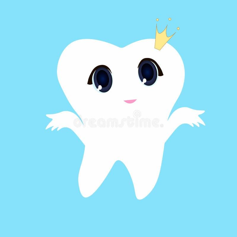Άσπρο μπλε υπόβαθρο δοντιών, πρώτο δόντι απεικόνισης εικονιδίων δοντιών διανυσματικό απεικόνιση αποθεμάτων