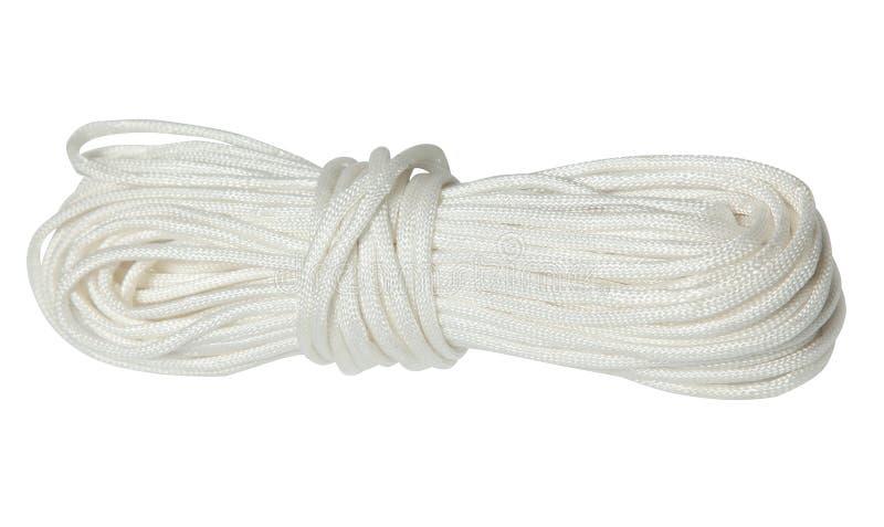Άσπρο νάυλον σχοινί που απομονώνεται στο άσπρο υπόβαθρο στοκ φωτογραφίες