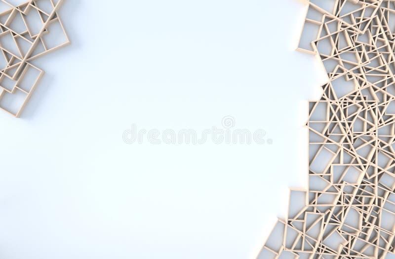 Άσπρο ντεκόρ υποβάθρου με τον ξύλινο τοίχο ραφιών r ελεύθερη απεικόνιση δικαιώματος