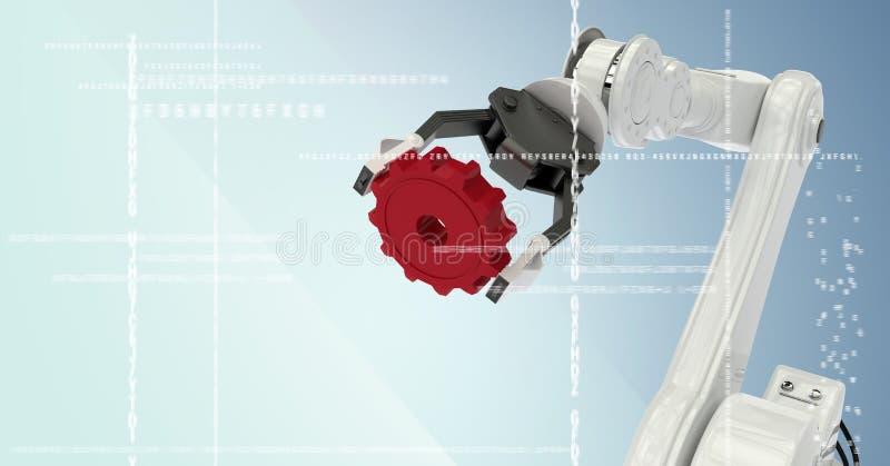 Άσπρο νύχι ρομπότ που κρατά το κόκκινο βαραίνω πίσω από την άσπρη διεπαφή στο μπλε κλίμα απεικόνιση αποθεμάτων