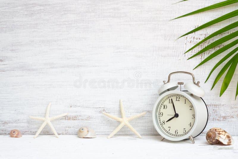 Άσπρο ξυπνητήρι με τον αστερία, τα κοχύλια θάλασσας και το πράσινο υπόβαθρο φύλλων φοινικών Έννοια υποβάθρου για τις διακοπές δια στοκ εικόνα με δικαίωμα ελεύθερης χρήσης
