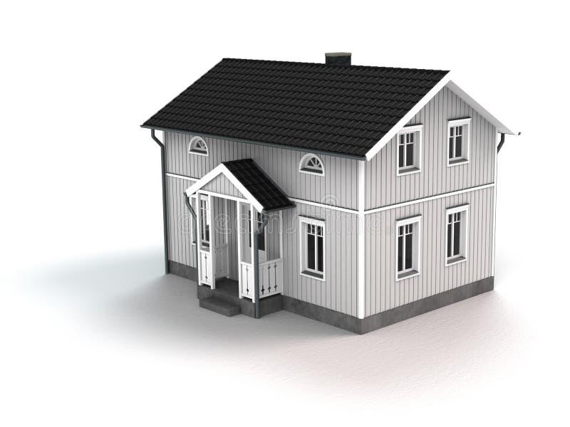 Άσπρο ξύλινο εξοχικό σπίτι διανυσματική απεικόνιση