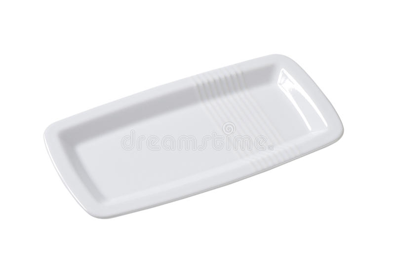 Άσπρο ορθογώνιο πιάτο στοκ εικόνα με δικαίωμα ελεύθερης χρήσης