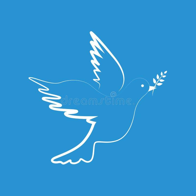 Άσπρο περιστέρι ειρήνης στο μπλε υπόβαθρο διανυσματική απεικόνιση