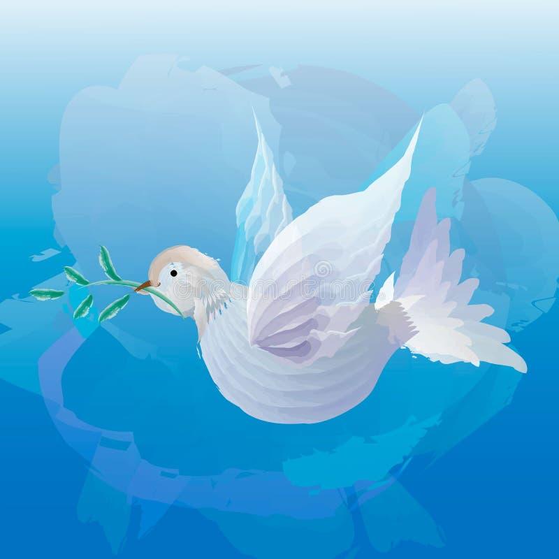 Άσπρο περιστέρι με το κλαδάκι ελιών στο μπλε υπόβαθρο σκονών Εικονίδιο που απομονώνεται στο μπλε ελεύθερη απεικόνιση δικαιώματος