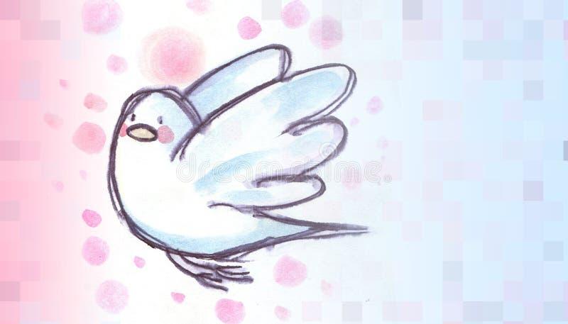 Άσπρο περιστέρι που πετά, απεικόνιση watercolor με το όνομα ελεύθερη απεικόνιση δικαιώματος