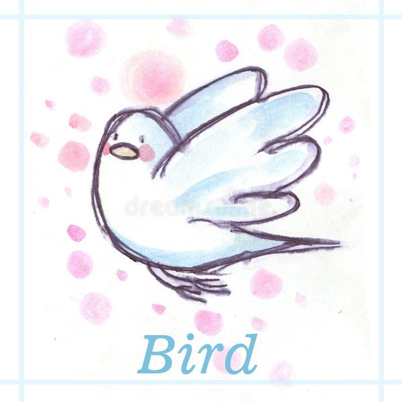 Άσπρο περιστέρι που πετά, απεικόνιση watercolor με το όνομα απεικόνιση αποθεμάτων