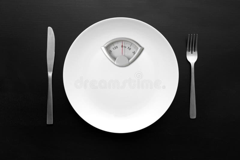 Άσπρο πιάτο με την κλίμακα βάρους στοκ εικόνες με δικαίωμα ελεύθερης χρήσης