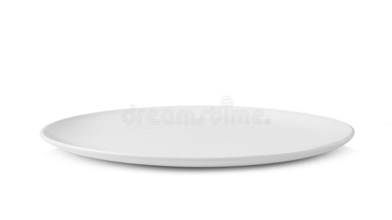 Άσπρο πιάτο που απομονώνεται στην άσπρη ανασκόπηση στοκ φωτογραφία
