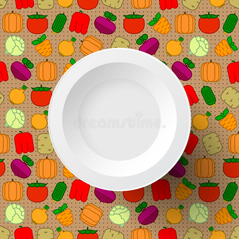 Άσπρο πιάτο στο άνευ ραφής υπόβαθρο ελεύθερη απεικόνιση δικαιώματος