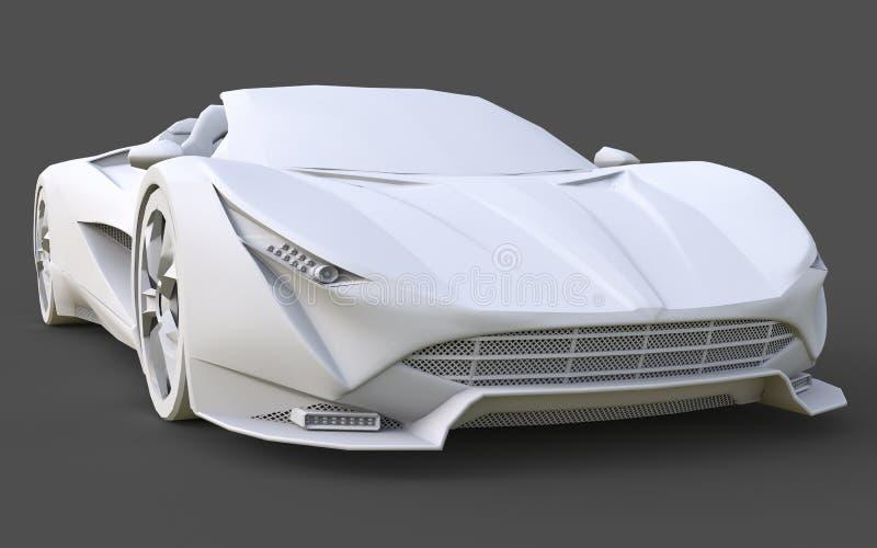 Άσπρο πλαστικό εννοιολογικό πρότυπο ενός αθλητικού αυτοκινήτου μετατρέψιμου σε ένα γκρίζο υπόβαθρο τρισδιάστατη απόδοση ελεύθερη απεικόνιση δικαιώματος