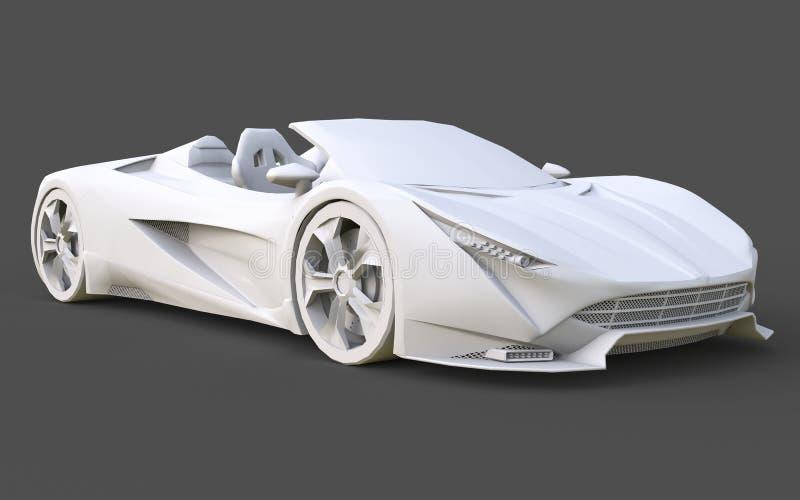 Άσπρο πλαστικό εννοιολογικό πρότυπο ενός αθλητικού αυτοκινήτου μετατρέψιμου σε ένα γκρίζο υπόβαθρο τρισδιάστατη απόδοση διανυσματική απεικόνιση