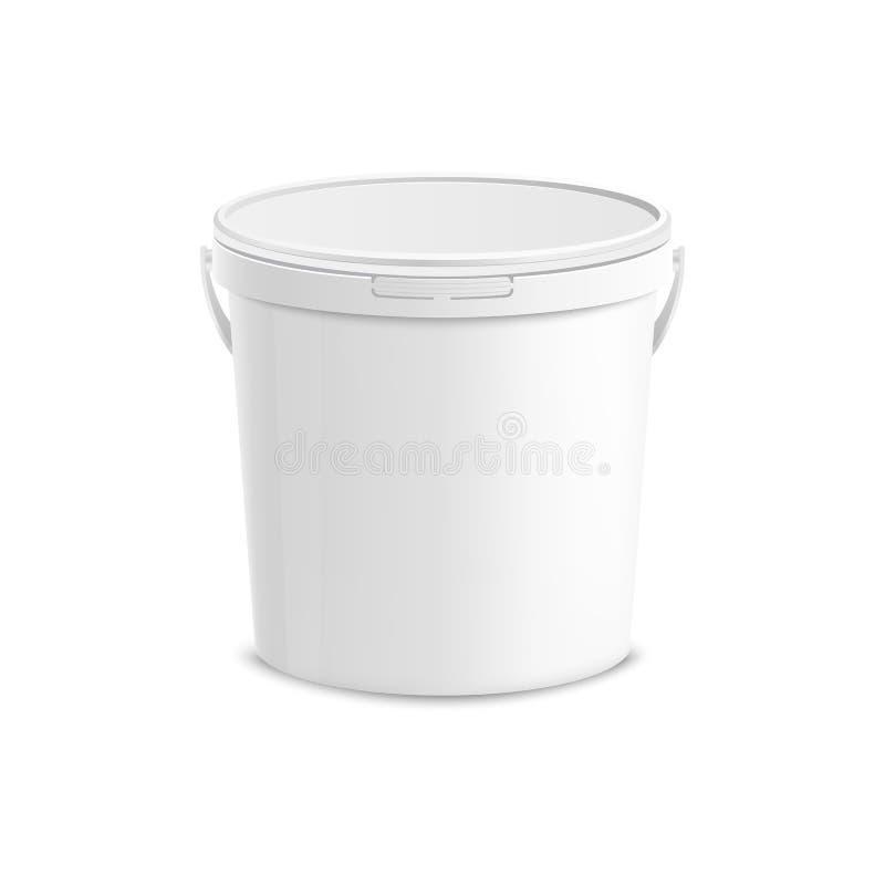 Άσπρο πλαστικό πρότυπο κάδων ελεύθερη απεικόνιση δικαιώματος