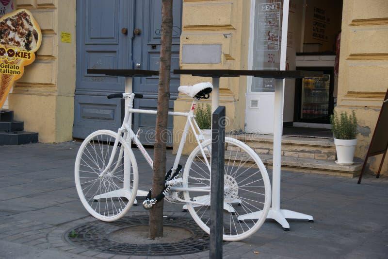 Άσπρο ποδήλατο στοκ φωτογραφία