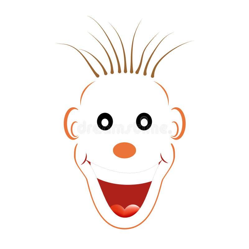Άσπρο πρόσωπο γέλιου με ένα πορτοκαλί περίγραμμα με τα μαυρισμένα μάτια, μια πορτοκαλιά μύτη, μια καφετιά ακατάστατη τρίχα, τα αυ ελεύθερη απεικόνιση δικαιώματος
