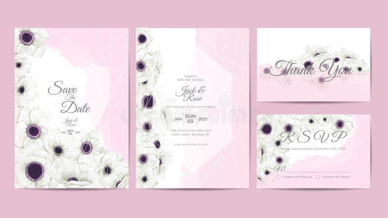 Άσπρο πρότυπο γαμήλιας πρόσκλησης Watercolor λουλουδιών Anemone Το λουλούδι και οι κλάδοι σχεδίων χεριών εκτός από την ημερομηνία ελεύθερη απεικόνιση δικαιώματος