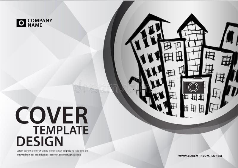 Άσπρο πρότυπο κάλυψης για την επιχειρησιακή βιομηχανία, ακίνητη περιουσία, buildin στοκ εικόνες