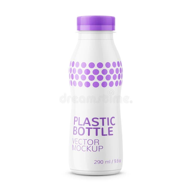 Άσπρο πρότυπο μπουκαλιών γάλακτος απεικόνιση αποθεμάτων