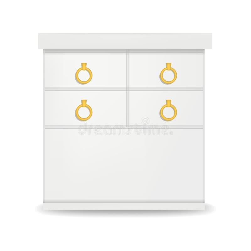 Άσπρο πρότυπο συρταριών ύψους, ρεαλιστικό ύφος διανυσματική απεικόνιση
