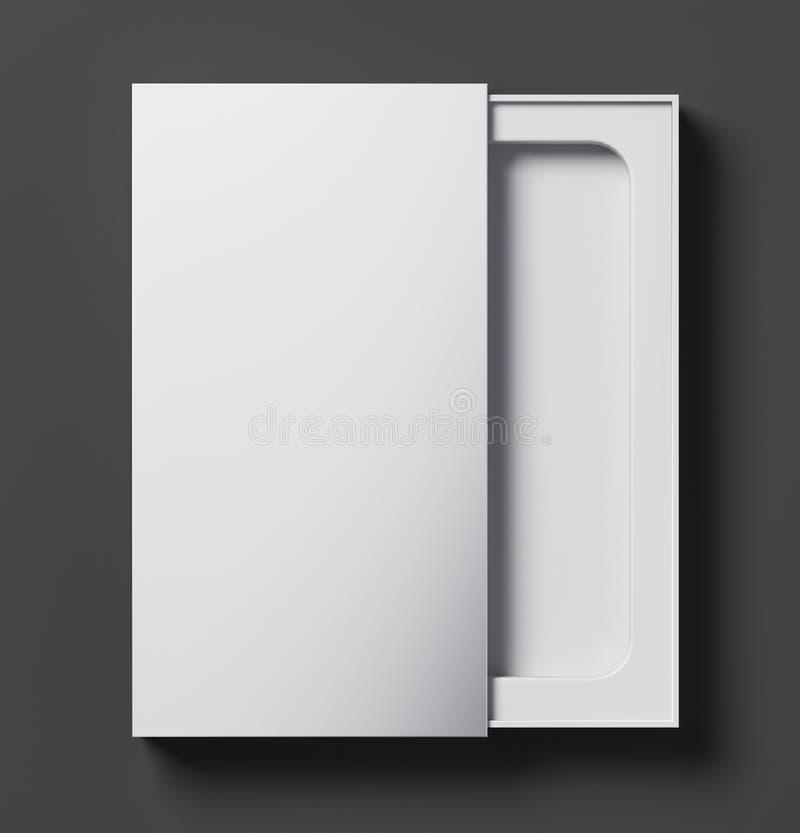 Άσπρο πρότυπο τηλεφωνικών κιβωτίων κατά το ήμισυ ανοικτό - τρισδιάστατη απεικόνιση διανυσματική απεικόνιση