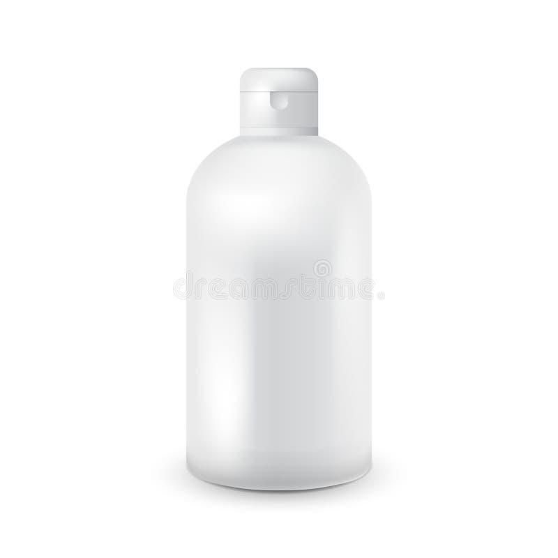 Άσπρο πλαστικό πρότυπο μπουκαλιών για το σαμπουάν, πήκτωμα ντους, λοσιόν, γάλα σωμάτων, αφρός λουτρών Έτοιμος για το σχέδιό σας δ διανυσματική απεικόνιση