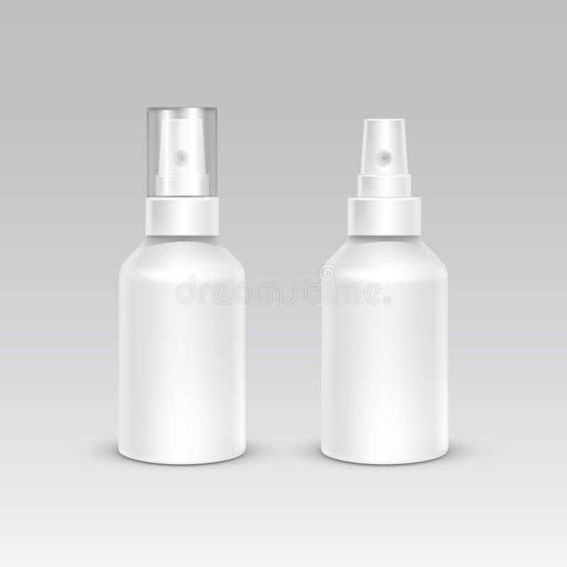Άσπρο πλαστικό σύνολο εμπορευματοκιβωτίων συσκευασίας μπουκαλιών ψεκασμού απεικόνιση αποθεμάτων