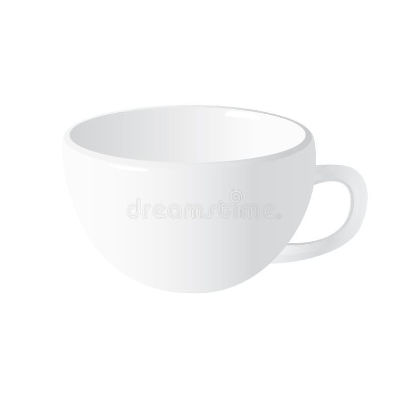 Άσπρο ρεαλιστικό διανυσματικό φλυτζάνι που απομονώνεται στο άσπρο υπόβαθρο στοκ εικόνες με δικαίωμα ελεύθερης χρήσης