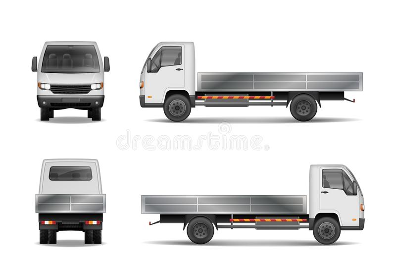 Άσπρο ρεαλιστικό φορτηγό φορτίου παράδοσης που απομονώνεται στο λευκό Εμπορικό πρότυπο φορτηγών πόλεων από την πλευρά, μπροστινός απεικόνιση αποθεμάτων