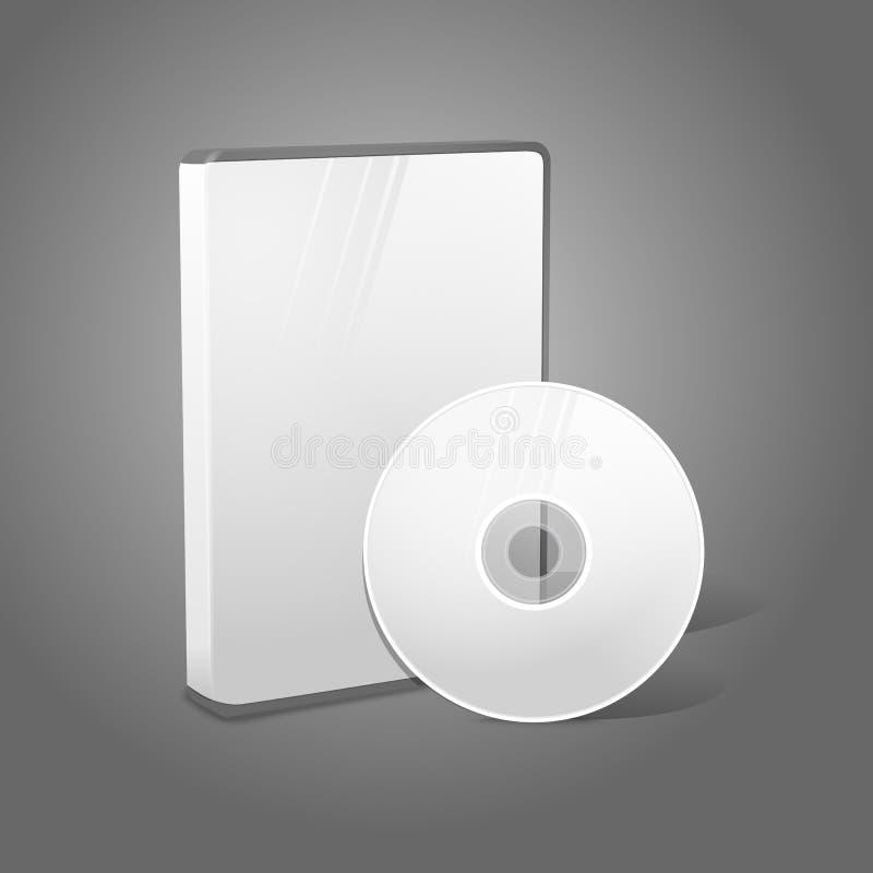 Άσπρο ρεαλιστικό απομονωμένο DVD, CD, περίπτωση μπλε-ακτίνων διανυσματική απεικόνιση