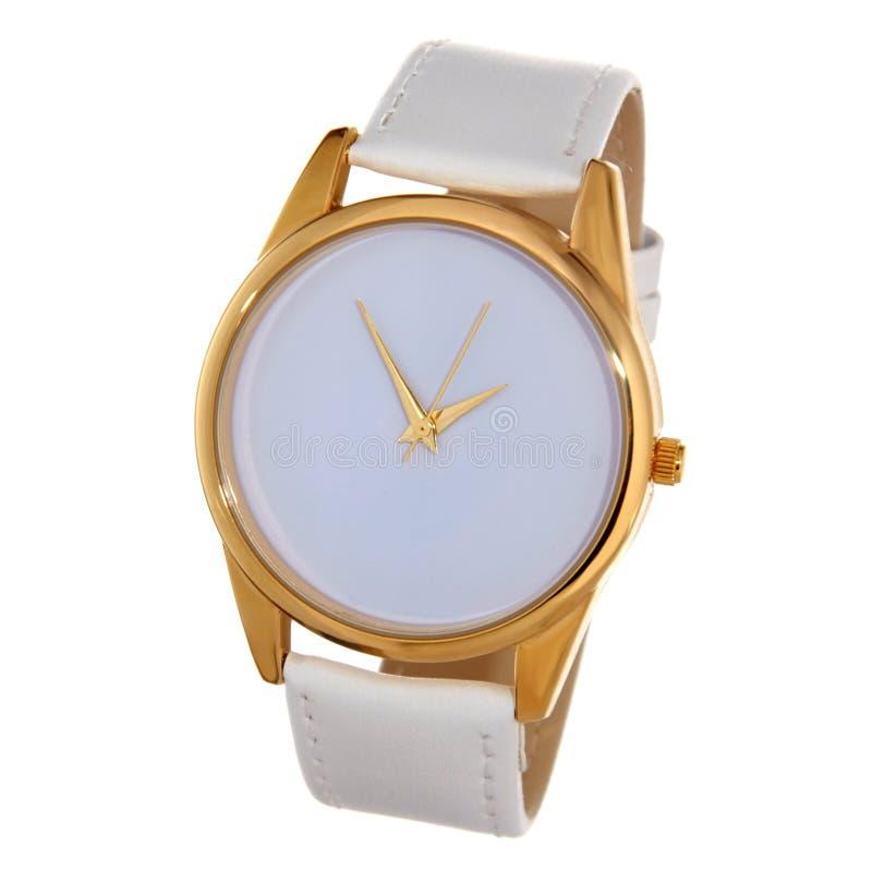 Άσπρο ρολόι με το άσπρο βραχιόλι στοκ εικόνες